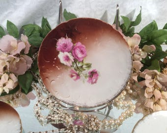 Set of Four (4) Transferware Dessert/Bread Plates Pink and White Rose Pattern