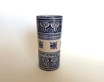 Blue and White Vase | Blue and White Stoneware | Blue Butterfly Vase | Hand-painted Vase