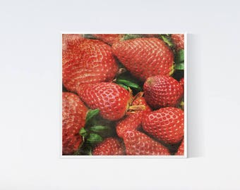 Fruit art prints, Strawberry bacground, red digital download, kitchen decor, Red Food art, Strawberries photography, Commercial use, 12x12