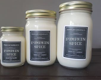 Pumpkin Spice Candle, Pumpkin Soy Candle, Autumn Candle, Fall Candle, Soy Candle, Organic Candle, Mason Jar Candle, Mason Jar Soy Candle