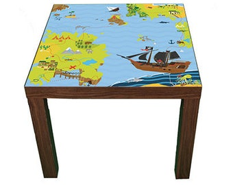 Pirate treasure island– Kids room furniture sticker – Ikea hack Lack sticker for play tables/storage. - Furniture not included.