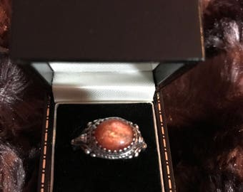 Orange Sun Stone set in Sterling Silver