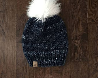 THE CYPRESS // River Run // Chunky Knit Beanie // Faux Fur Pom Pom // Wool Handknit Chunky Hat // Basic Knit Hat