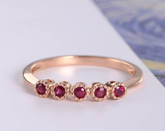 Ruby Ring Rose Gold Women Bridal Ring Minimalist Beaded Half Eternity  Engagement Ring Wedding  July Birthstone Promise Gift For Her