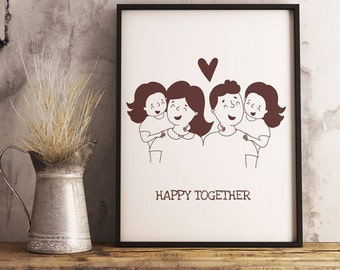 Wall ART Poster Family Happy ToGether  8x10