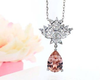 Blush bridal necklace, personalized Maid of Honor gift, Swarovski crystal necklace, blush bridal jewelry, pink bridesmaid necklace