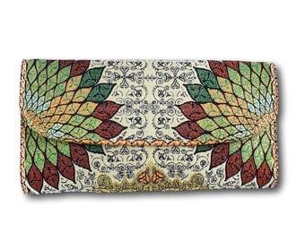 Handmade vegan wallet, handmade wallet women, long purse, hipster wallet purse, gift for mom, gift for wife, gift for girlfriend, boho chic