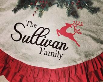 Tree Skirt, personalized Christmas tree skirt, personalized tree skirt, Christmas tree, Christmas, burlap tree skirt