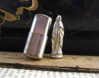 Antique french pocket shrine with Virgin Mary Our Lady    - Religious item WWII