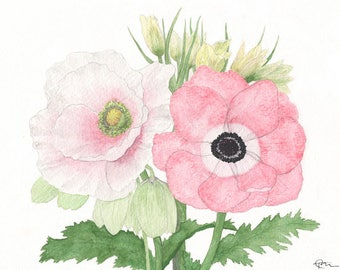 Poppies & Fritillaries, flowers watercolor, flowers print, botanical print, boho, wall art, home decor