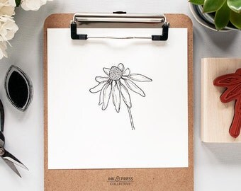 Echinacea Flower Rubber Stamp - Floral Stamp - Flower Stamp - Flower Rubber Stamp - Coneflower Stamp - Echinacea Stamp - Hand Drawn