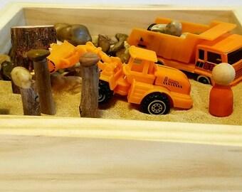 Construction Small World Sand Box Sensory Bin Montessori Discovery Box Reggio inspired Waldorf Pretend Play Toddler Birthday Gift