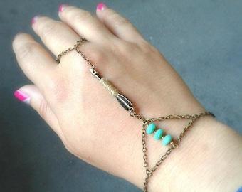 Arrow Slave Bracelet Bohemian Slave Bracelet Arrow Hand Chain Bohemian Hand Chain Turquoise Slave Bracelet Beaded Hand Chain