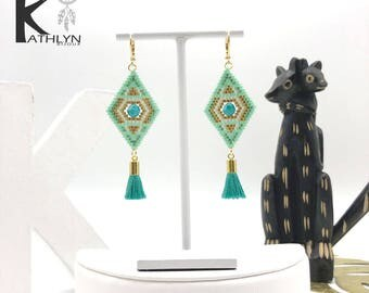 DJINN earrings handwoven Mint and gold
