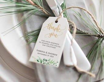 Wedding Favor Tags Printable, Bridal Shower Favors, Wedding Favor Tags Printable, Thank You Tags, Green Wedding Favor, Greenery thank you