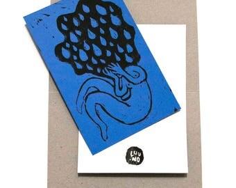 "Card / funny ladies ""Sadness"" / 10 x 15 / linocut"