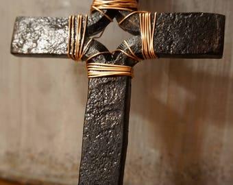 Rustic hand made blacksmith Cross.