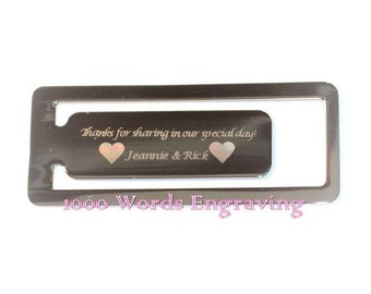 Custom engraved silver or gold rectangle bookmark