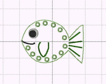 Fish Lacing Card - INSTANT DOWNLOAD - Embroidery Design - Sizes 4x4 and 5x7 - In the hoop - Feltie - Tying Shoes - Montessouri