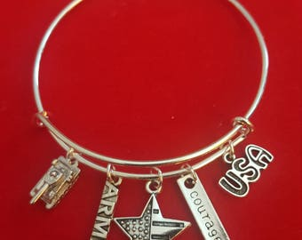 Military - Army Themed Charm Bracelet
