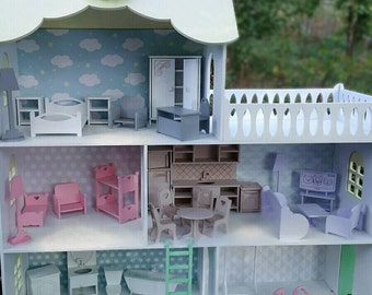 Gift christmas daughter Set Of Furniture Doll House Furniture Kit Wooden Miniature Furniture Dollhouse Accessories Furniture For Barbie