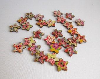 Star buttons, Wooden buttons, Craft supplies, Wood buttons, Set of 20 star shaped buttons, Sewing buttons, Two hole buttons, Flower buttons