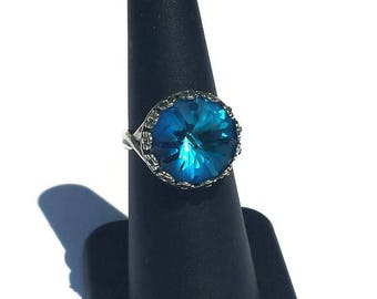 Antique silver plated ring with Swarovski Crystal Bermuda blue-ring Sea Urchin-gift for you
