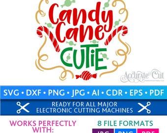 Candy Cane Cutie Svg Candy Cane Cutie Cut Files Christmas Silhouette Studio Cricut Svg Dxf Jpg Png Eps Pdf Ai Cdr