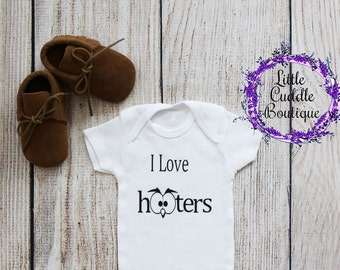 I Love Hooters One Piece, Boy Bodysuit, Funny Bodysuit, Baby Shower Gift, Baby Boy Gift, Owl Shirt, Baby Outfit, Funny Shirt, New Baby