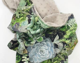 Baby Blanket, Pram Blanket, Unique Minky Snuggle Blanket, Modern Babyshower Gift, Botanical with Succulents, Baby Throw Blanket