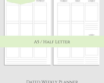 "2017 Dated Weekly Vertical Printable Planner Inserts, WO2P Vertical Layout with Boxes ~ A5 / 5.5"" x 8.5"" Instant Download (WVB)"