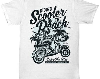 Riding Scooter On The Beach 1978 T-shirt