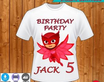 PJ Masks Birthday Party Shirt, Pj Masks Birthday party T-Shirt-Pj Masks Birthday party dress-INSTANT DOWNLOAD