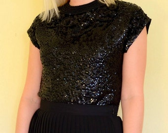 vintage 50s black sequin beaded party top