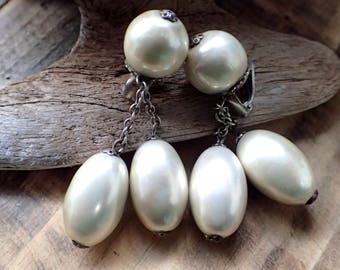Vintage Earrings, Pearl Earrings, Clip On Earrings, Drop Earrings, Dangle Earrings, Vintage Jewelry, Pearl Jewelry, Earrings, Gifts for Her