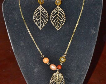 Fallen Leaf Earring and Necklace Set