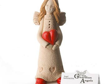 Guardian Angel | Ceramic Hand Made Ornament | Beautifully made Guardian Of Love | Sentiment Card Enclosed | Keepsake Gift