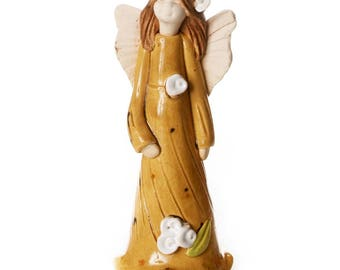 Guardian Angel of Wellbeing in Neutral Dress   Little Angel with Sweet Face   Hand Made Ceramic Ornament   Quirky & Thoughtful Gift