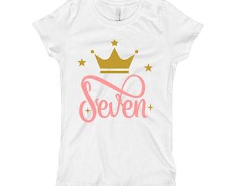 Pink and Gold Birthday Shirt - 7th Birthday Shirt 7 - Seventh Birthday Shirt - Pink and Gold Birthday Party - Crown Birthday Shirt for Girls