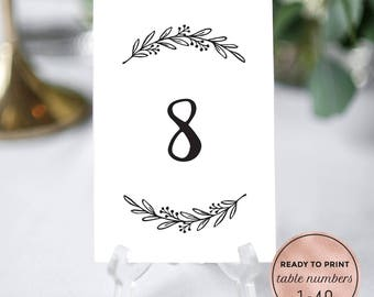 Printable Floral Wedding Table Numbers Download. Rustic Wedding Table Numbers. 4x6, 5x7 DIY Floral Table Numbers 1-40. PDF Instant Download.