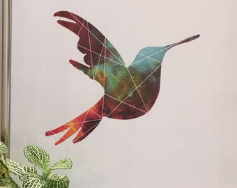 Double exposure colibri paint strokes, INSTANT DOWNLOAD