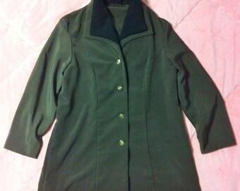 Vintage Olive Green Blazer Jacket, Vintage Green Blazer Jacket with Black Collar, Green Blazer Jacket