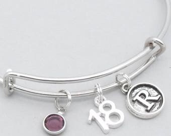 18th birthday bracelet | 18th birthday jewelry | 18th bangle | personalised 18th gift | eighteenth | 18th gift for girl