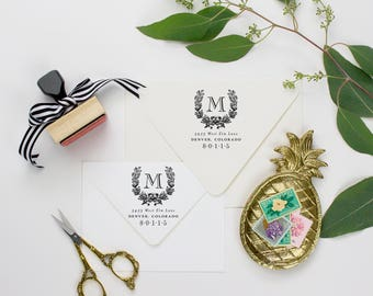 Return Address Stamp Monogram Address Stamp, Return Address Stamp Wedding Stamp Wreath, Return Address Stamp Floral, Custom Stamp Wedding