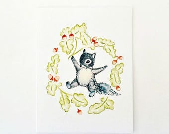 Cute Woodland Squirrel & Wreath Greeting Card, Birthday Card