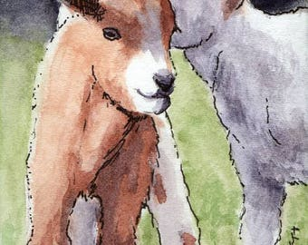 ACEO / ATC Original: 'Goat Whisperer' - ink and watercolor on 140lb watercolor paper