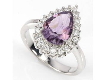 SOLID 925 Sterling Silver Classic Ring Big Large Huge Pear Amethyst 14K White Gold Plated US size 8 Russian Ukrainian size 18.25