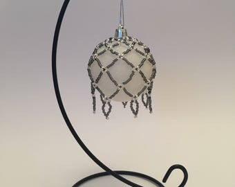 Christmas Tree Decoration / Hand Beaded Charcoal and Silver Christmas Ornament Cover