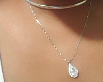 Pear-shaped CZ pedant and Silver over Brass choker