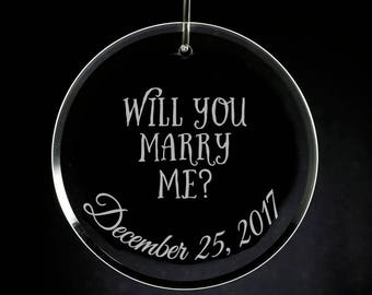 Will you marry me? Christmas Ornament, Engraved Glass, Proposal, Christmas Proposal, Proposal Ornament, Marry me ornament